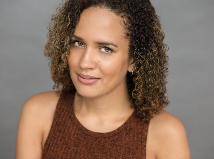 female against grey backdrop for actor headshots Toronto 8234