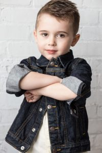 four year old Nathan with arms crossed for children's headshots Toronto 3567