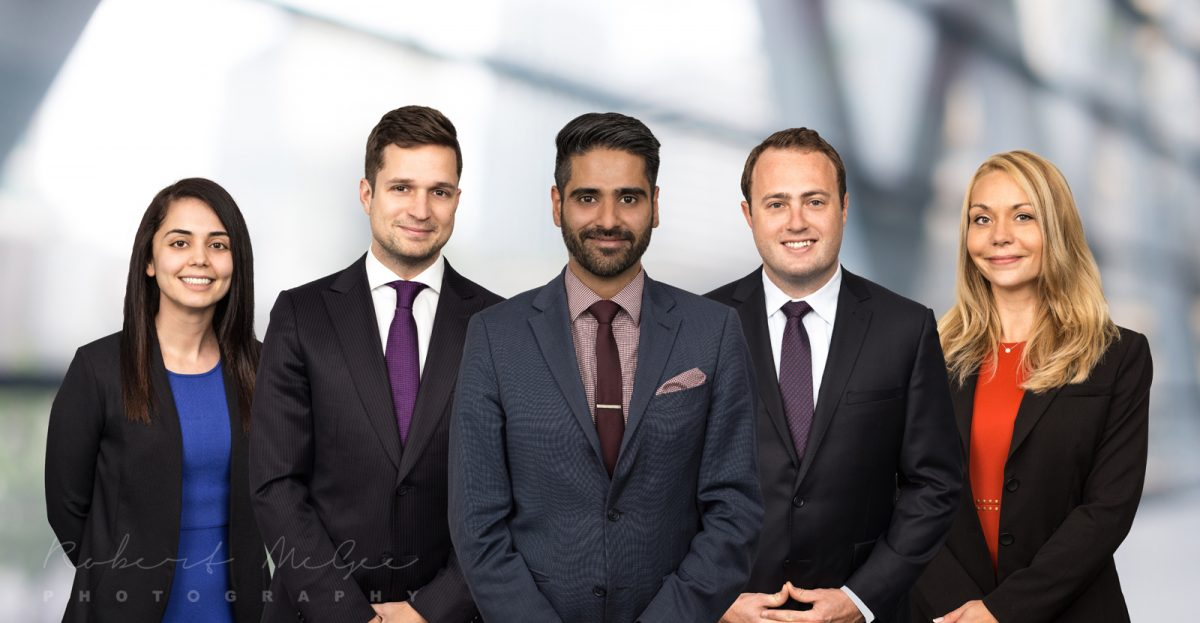 5 lawyers group shot corporate photography composite