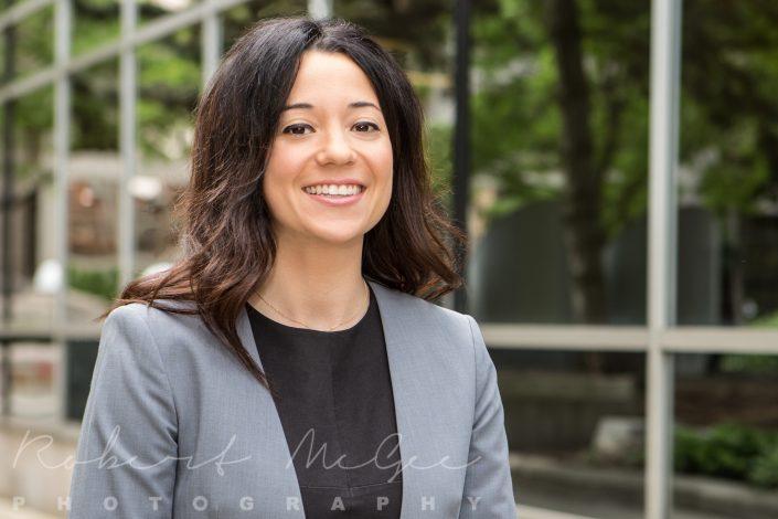 Toronto outdoor LinkedIn headshot grey jacket for Kelly D. Jordan family law firm