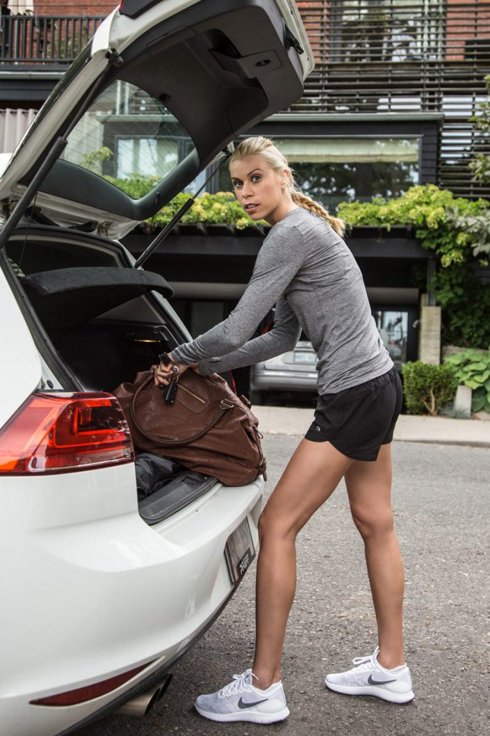 Natasha getting gear from car trunk for personal branding photography Toronto 0O7C1079
