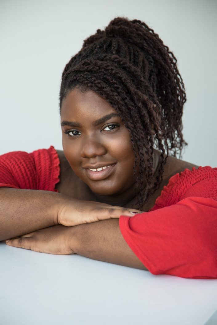 Shanelle in red top for actor headshots Toronto 0O7C6532