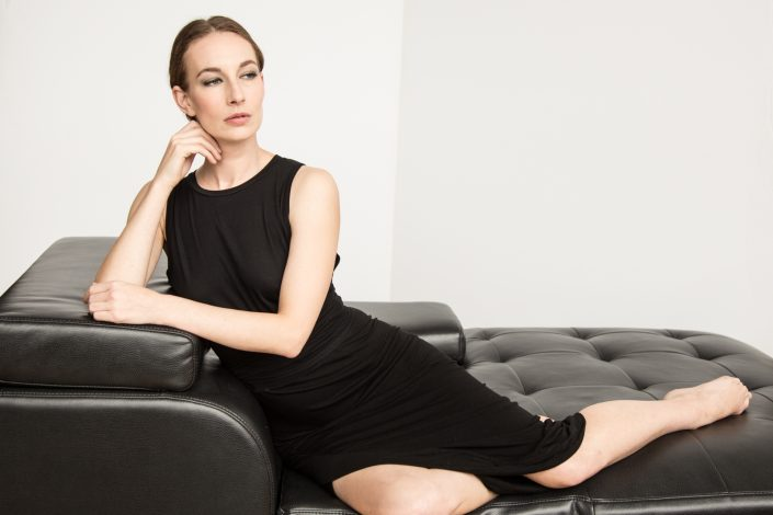 lounging in little black dress for portrait photographer Toronto 0O7C8766