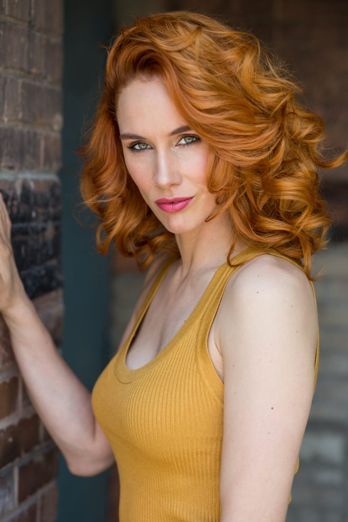 red haired Sara wearing yellow tank for Toronto actor headshots 0O7C2698