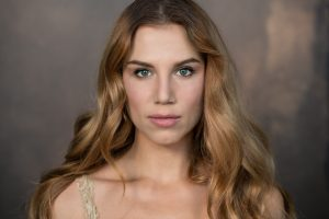 Yana, long blonde hair looking intense for actor headshots Toronto 0O7C1019