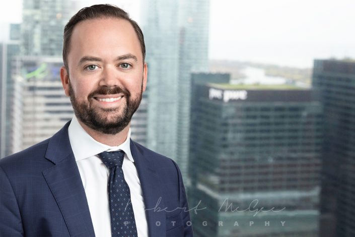 business associate with beard with view of Toronto for corporate headshots 0O7C8978